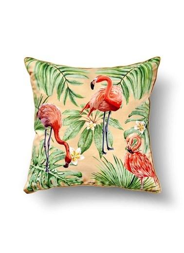 The Mia Tropik Yastık - Flamingo Bej 50 x 50cm Renkli